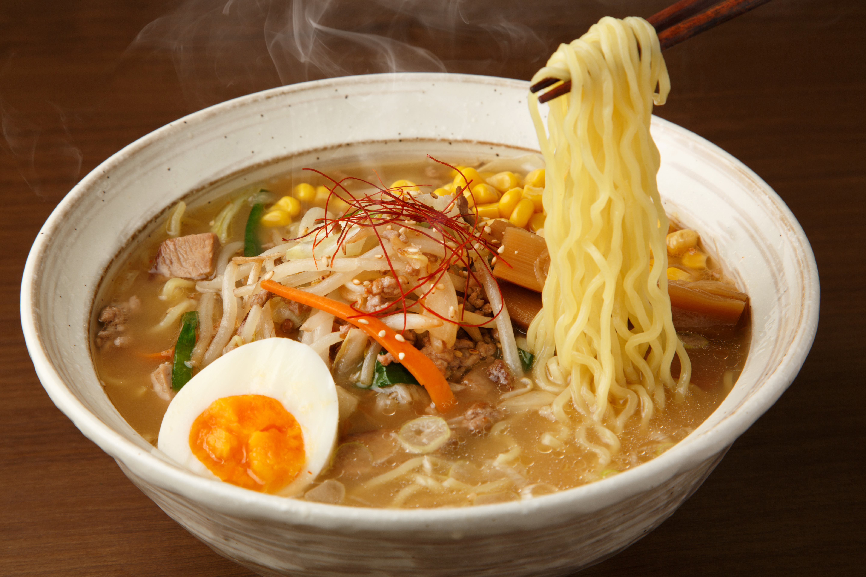 Bowl of Ramen soup and chopsticks